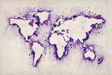 Map of the World Paint Splashes 高画質プリント : Michael Tompsett
