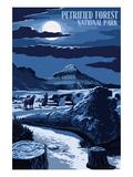 Wolves and Full Moon - Petrified Forest National Park Lámina giclée prémium por  Lantern Press