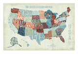 EE UU azul moderno Lámina giclée prémium por Michael Mullan