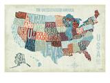 Kaart van de VS met de staten in letters weergegeven, titel: USA Modern Blue Premium gicléedruk van Michael Mullan
