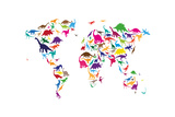 Dinosaurier Karte von der Welt Map Kunstdrucke von Michael Tompsett