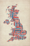 Great Britain UK City Text Map 高品質プリント : Michael Tompsett