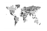 Monotone Text Map of the World Prints by Michael Tompsett