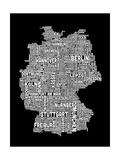 Text Map of Germany Map Art by Michael Tompsett