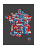 City Text Map of France Prints by Michael Tompsett