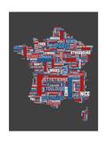 City Text Map of France ポスター : Michael Tompsett