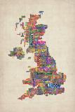 Great Britain UK City Text Map Posters par Michael Tompsett