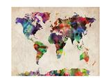 World Map Urban Watercolour Art by Michael Tompsett