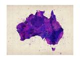 Australia Paint Splashes Map Giclée-Premiumdruck von Michael Tompsett