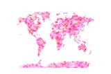Love Hearts Map of the World Map ポスター : Michael Tompsett