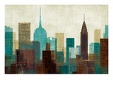 Summer in the City I Blue Poster by Mo Mullan
