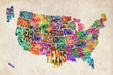 United States Text Map Prints by Michael Tompsett