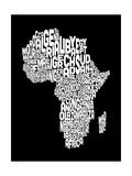 Karte von Afrika Map, Text Art Giclée-Premiumdruck von Michael Tompsett