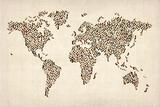 Ladies Shoes Karte von der Welt Map Kunstdrucke von Michael Tompsett