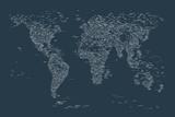 World Map of Cities Posters av Michael Tompsett