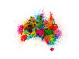 Australia Paint Splashes Map Posters by Michael Tompsett