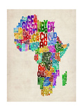 Typography Map of Africa Prints by Michael Tompsett