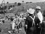 Woodstock, Farmer Max Yasgur Looks On As His Grounds Are Used For Woodstock Festival, 1970 Foto