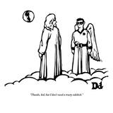 """Thanks, kid, but I don't need a trusty sidekick."" - New Yorker Cartoon Reproduction giclée Premium par Drew Dernavich"