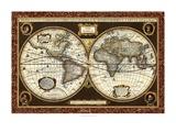 Decorative World Map Reproduction d'art par Vision Studio