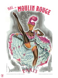 1962 Moulin Rouge cancan rose Giclee Print by Pierre Okley