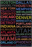 National Basketball Association Cities Colorful Posters