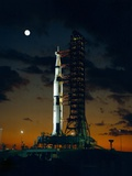 Test Flight of Giant Saturn V Rocket for Apollo 4 Mission at Kennedy Space Center, Nov 8, 1967 Foto
