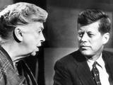 Eleanor Roosevelt and Sen John F Kennedy in a Public Appearance at Brandeis University Foto