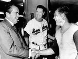 President Richard Nixon Greets Washington Senators Catcher Jim French after their Win over Brewers Valokuva