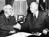 President Harry Truman with President Elect Dwight Eisenhower after Nov Elections, Nov 18, 1952 Foto