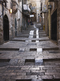 Ancient Street in the Old Town, Jerusalem, Israel Stretched Canvas Print by Keren Su