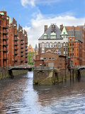 Waterfront Warehouses and Lofts in the Speicherstadt Warehouse District of Hamburg, Germany, Stampa fotografica di Miva Stock
