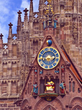 Clock Tower of Church of Our Lady, Nuremberg, Germany Stampa fotografica di Miva Stock