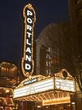 Illuminated Marquee of the Arlene Schnitzer Auditorium, Portland, Oregon, USA Photographic Print by William Sutton