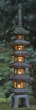 Stone Lantern Illuminated with Candles, Portland Japanese Garden, Oregon, USA Fotoprint av William Sutton