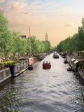 Boats Cruise Along a Canal with the Zuiderkerk Bell-Tower in the Background, Amsterdam, Netherlands Photographic Print by Miva Stock