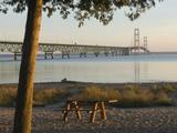 Mackinac Bridge, Mackinaw City, Michigan, USA Stretched Canvas Print by Peter Hawkins