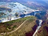 Aerial View of Victoria Falls, Waterfall, and the Zambesi River, Zimbabwe Stampa fotografica di Miva Stock