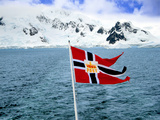 Hurtigruten Cruise Ship Postal Service Flag Displayed, Weddell Sea, Antarctica Photographic Print by Miva Stock