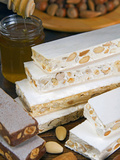 Turron (Spain), Torrone (Italy) or Nougat (Morocco), Confection of Honey, Sugar, Egg White and Nuts Fotografisk trykk av Nico Tondini