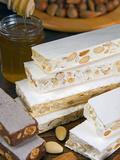 Turron (Spain), Torrone (Italy) or Nougat (Morocco), Confection of Honey, Sugar, Egg White and Nuts Valokuvavedos tekijänä Nico Tondini