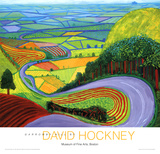 Heuvellandschap Garrowby Hill Print van David Hockney