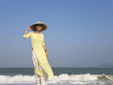 Girl with Conical Hat on the Beach, Vietnam Photographic Print by Keren Su