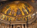Detail of Apse Mosaic with Portraits of Popes, Basilica Di San Paolo Fuori Le Mura, Rome, Italy Stampa fotografica di Miva Stock