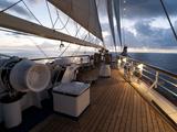 Star Clipper Sailing Cruise Ship, Nevis, West Indies, Caribbean, Central America Reproduction photographique par Sergio Pitamitz
