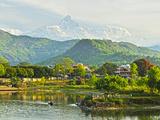 Annapurna Himal, Machapuchare and Phewa Tal Seen from Pokhara, Gandaki Zone, Western Region, Nepal Photographic Print by Jochen Schlenker