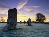 Prehistoric Stone Circle in Frost, Avebury, UNESCO World Heritage Site, Wiltshire, England, UK Reproduction photographique par Stuart Black