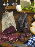 Motsetta (Mocetta), Chamois/Beef Meat Salted, Seasoned,Dried, Boudin Sausages, Goat Cheese, Italy Fotografie-Druck von Nico Tondini
