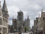 The Old Post Office on the Left, St. Nickolas Church and the Belfry Beyond, Ghent, Belgium, Europe Lámina fotográfica por James Emmerson