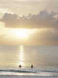 Two Swimmers in Ocean at Sunset, Grace Bay, Providenciales, Turks and Caicos, West Indies Fotografisk tryk af Walker, Kim